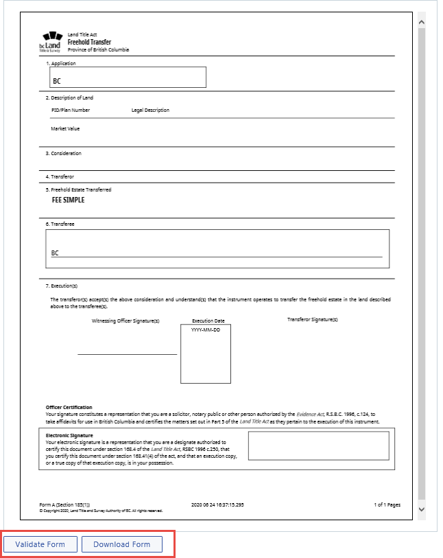 Web filing form preview, validate and download