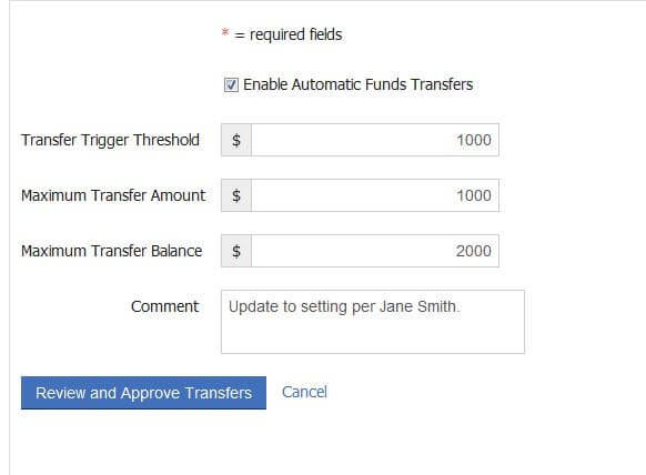 Automatic Fund Transfers parameters