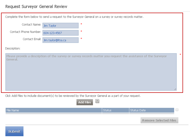 Request Surveyor General Review Form