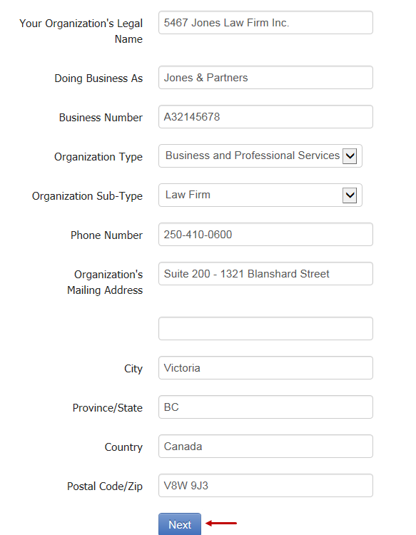 Organization's Details page