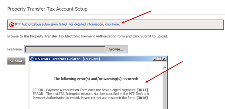 Complete the ptt payment authorization form ltsa help click the link to view and optionally print detailed error messages make the necessary changes to the rejected epa form and resubmit it altavistaventures Images